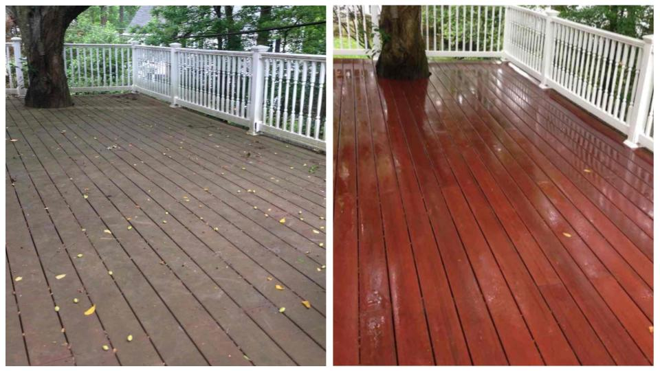 Composite deck before & after cleaning