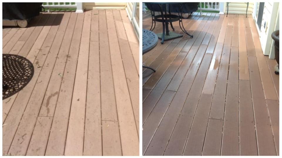 deck before & after cleaning