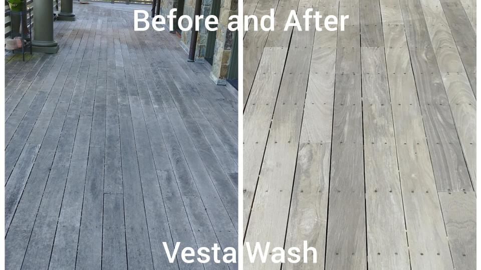 Mahogony deck before & after cleaning