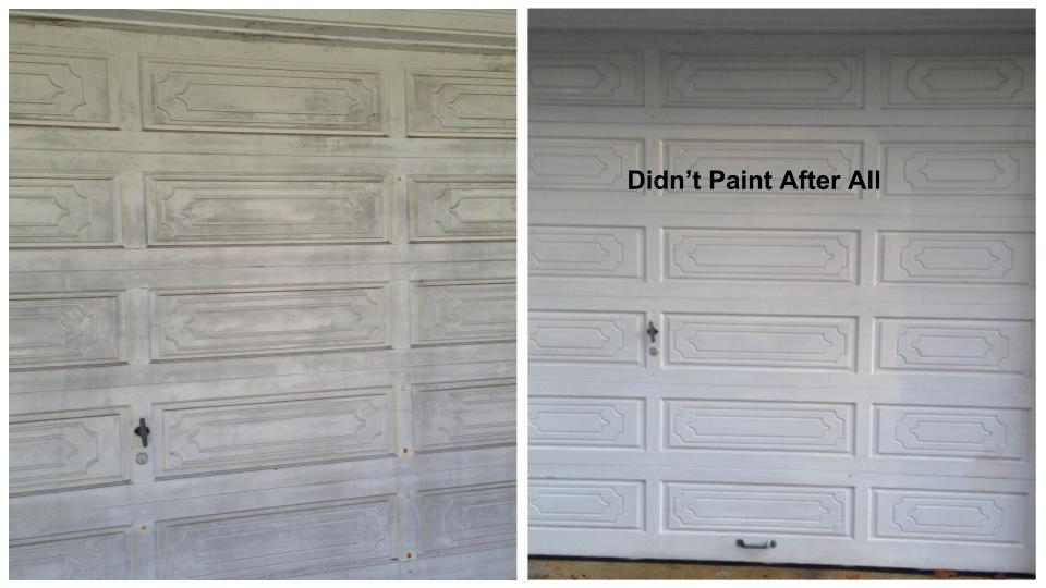 Garage Door before and after cleaning