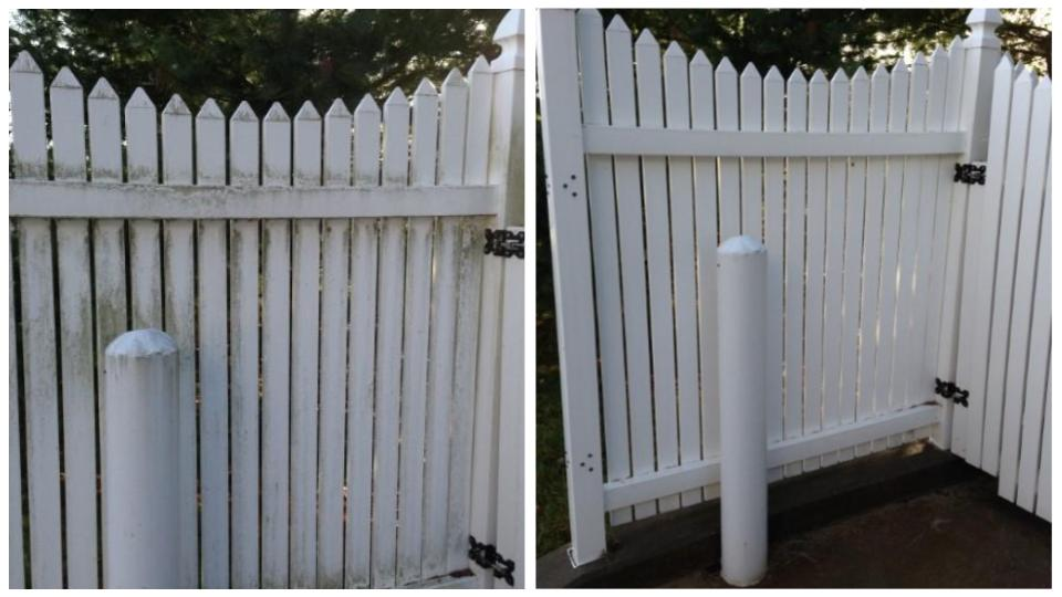 Gate before and after cleaning