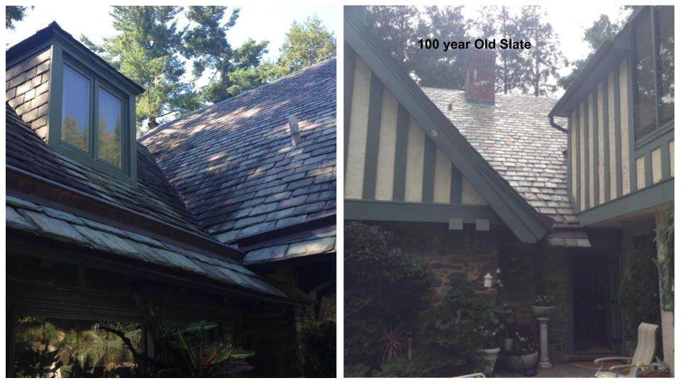 Slate Roof cleaning before and after