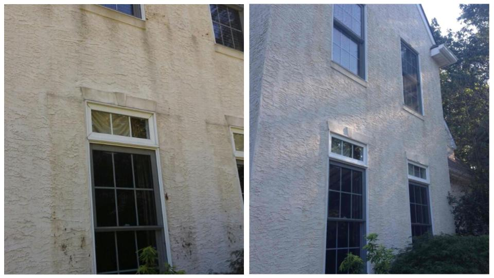 Stucco cleaning before & after