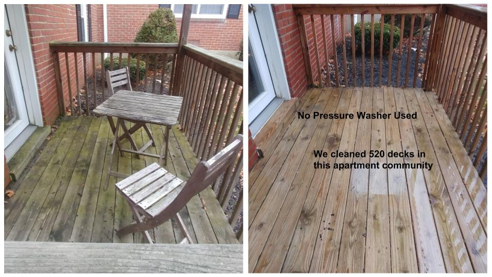Wood deck before & after cleaning