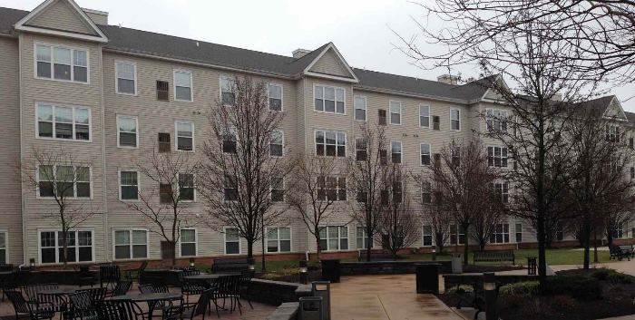Apartment building siding cleaned